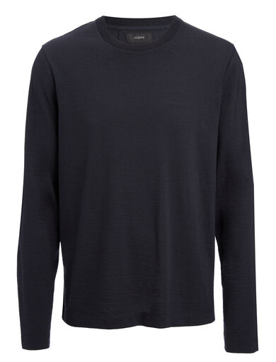 Wool Jersey Top, in NAVY, large | on Joseph