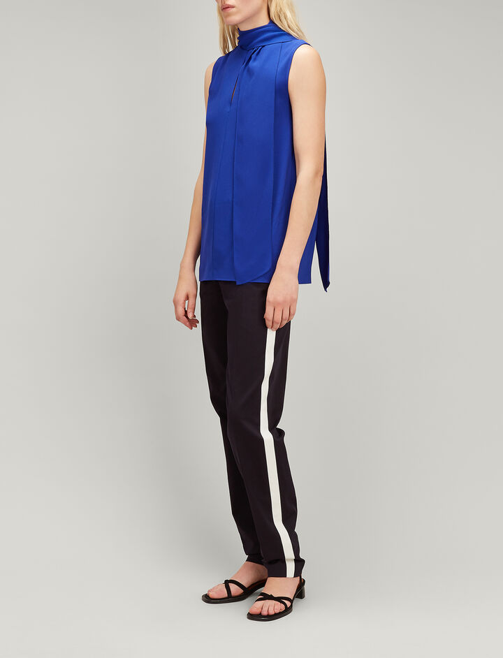Viscose Cady Noon Blouse, in COBALT BLUE, large | on Joseph
