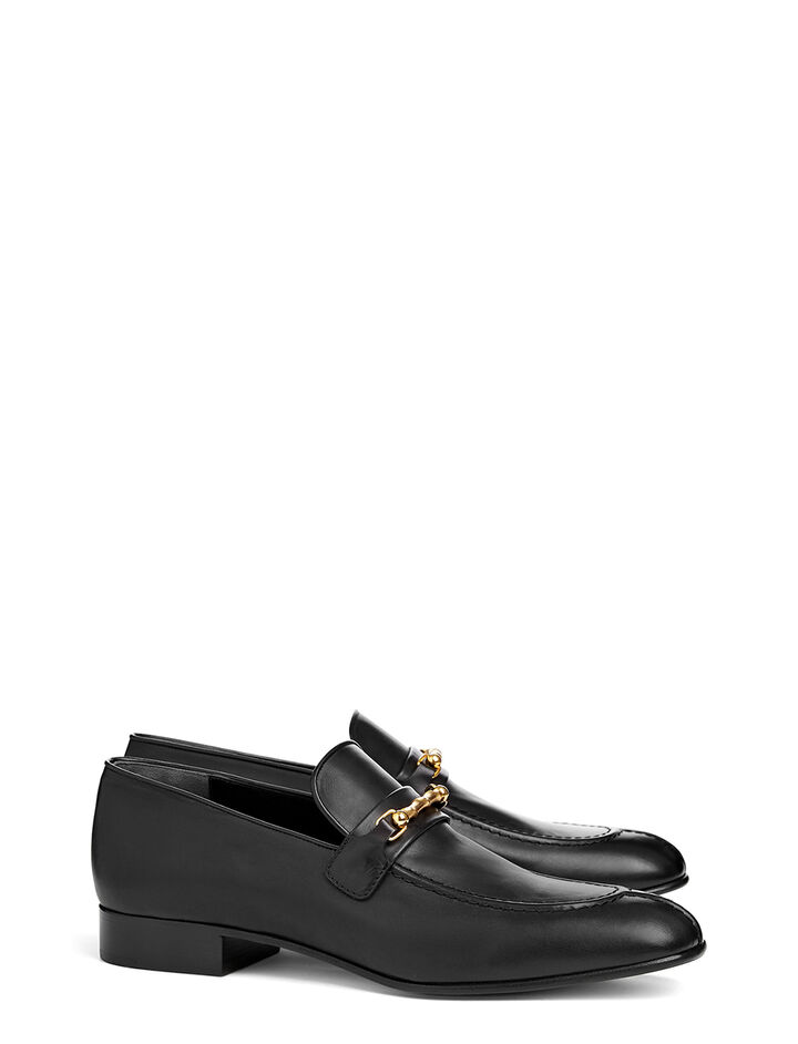 Calf Leather Loafer, in BLACK, large | on Joseph