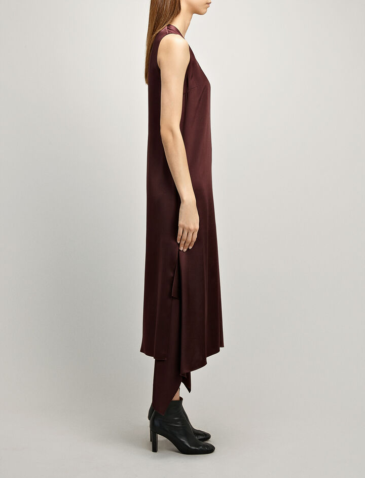 Silk Satin Reid Dress, in MORGON, large | on Joseph