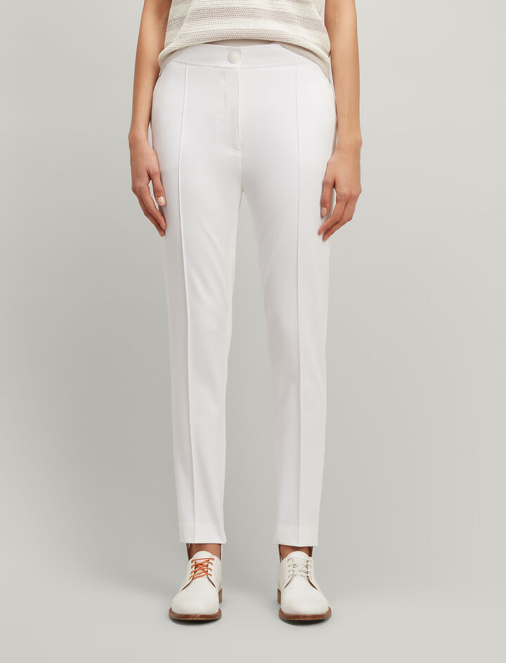 Drill Stretch Juno Trousers, in WHITE, large | on Joseph