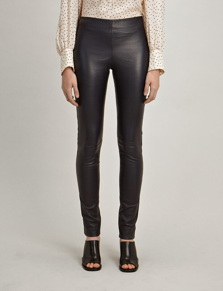 Leather Stretch Leggings, in NAVY, large | on Joseph