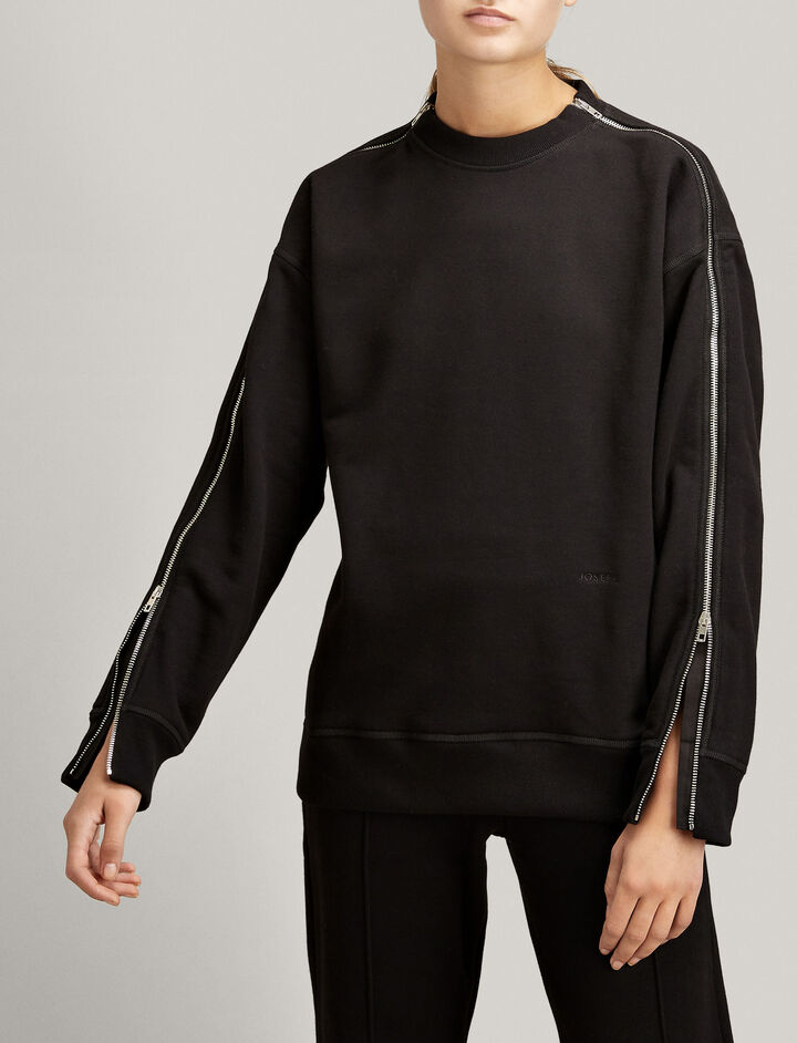 Joseph, Zip Jersey Sweatshirt, in BLACK