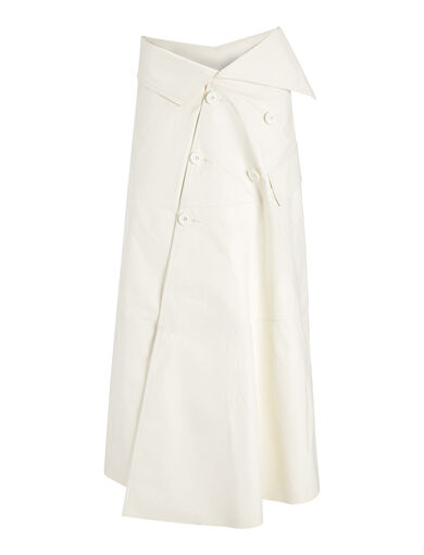 Paper Leather Lambskin Lane Skirt, in WHITE, large | on Joseph
