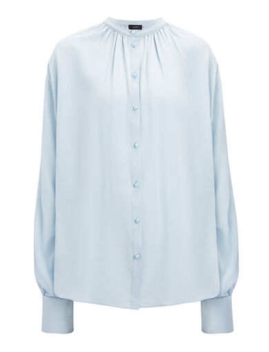 Chemisier Everett en crêpe de Chine, in POWDER BLUE, large | on Joseph