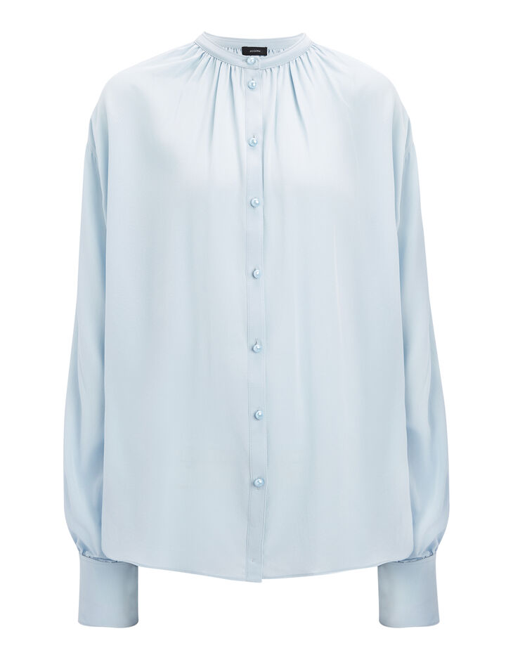 Crepe de Chine Everett Blouse, in POWDER BLUE, large | on Joseph