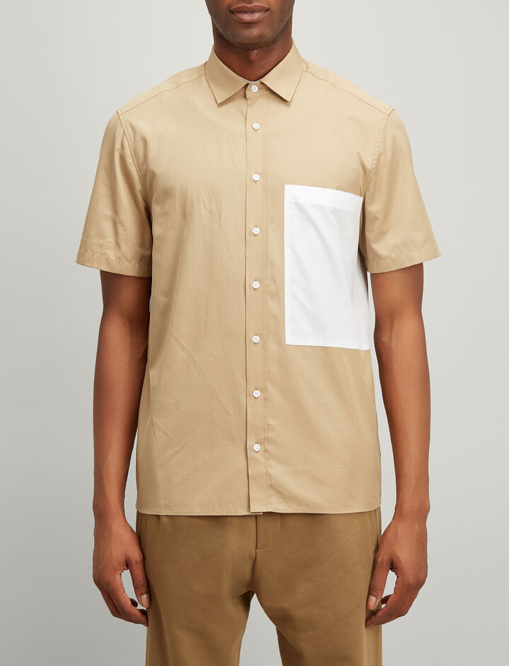 Joseph, Bi Colour Poplin Deal Shirt, in BEIGE