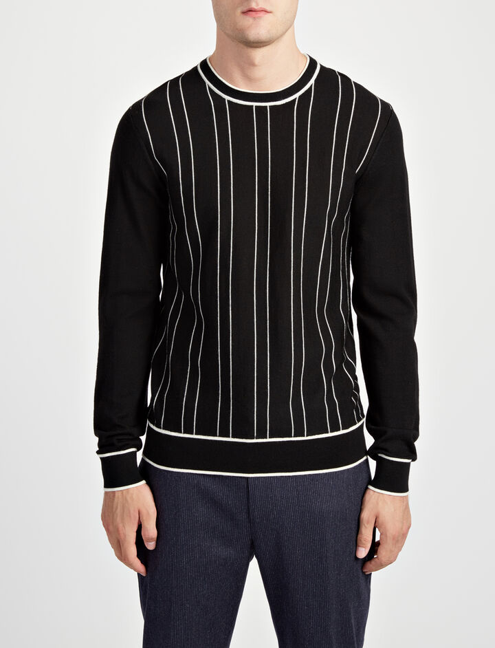Stripe Merinos Sweater, in BLACK/ECRU, large | on Joseph