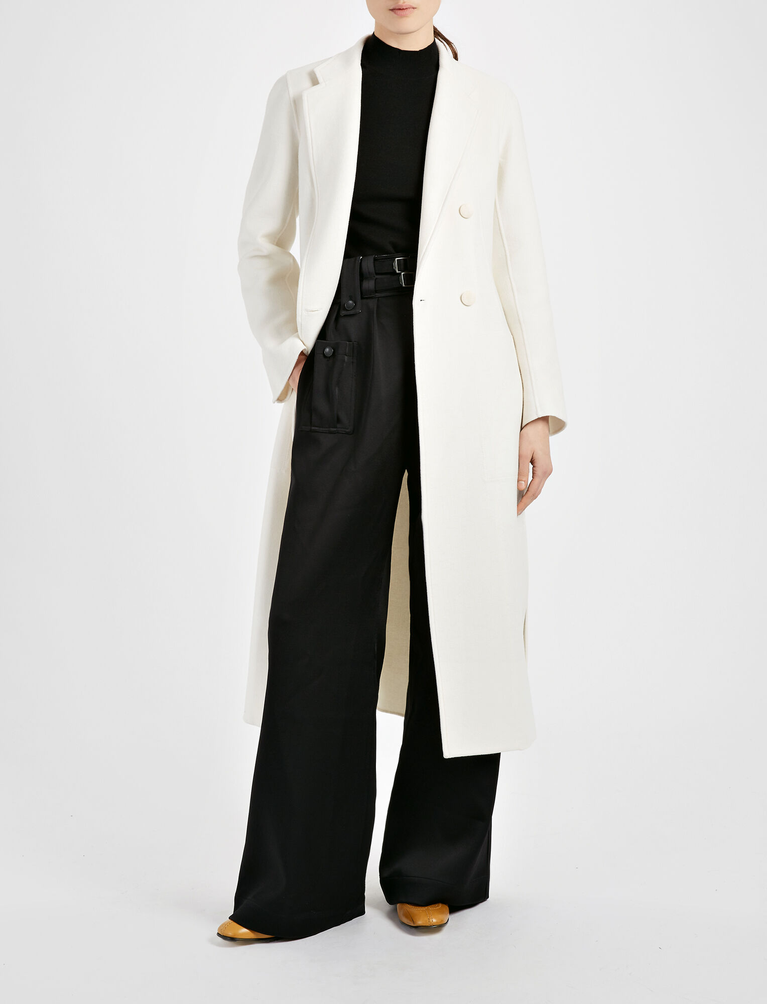 Light Double Cashmere Bailey Coat, in CHALK, large | on Joseph