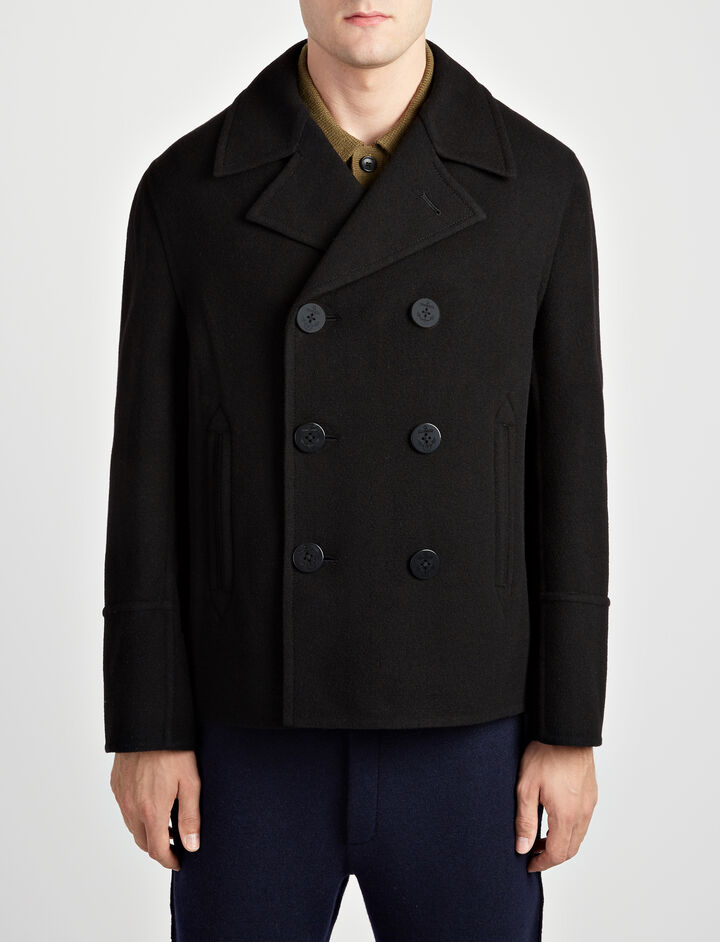 Double Face Wool Chalk Coat, in BLACK, large | on Joseph