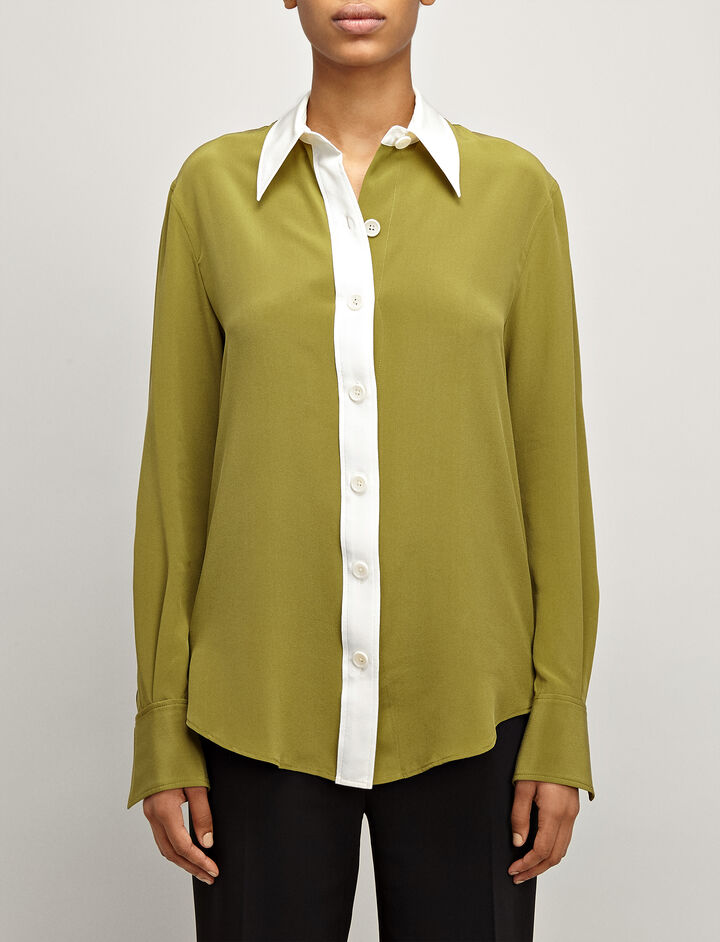 Crepe de Chine New Garcon Shirt, in PEA, large | on Joseph