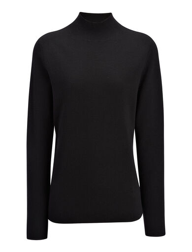 Superfine Merinos High Neck Top, in BLACK, large | on Joseph