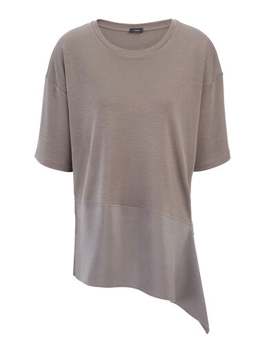 Fluid Jersey Asymetric Top, in SLATE GREY, large | on Joseph