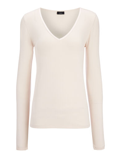 Cotton Lyocell Stretch V Neck Top, in HINT OF PEARL, large | on Joseph
