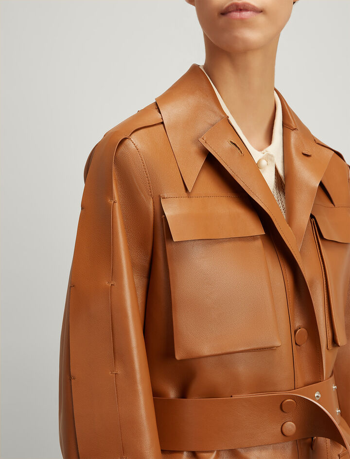 Joseph, Bonded Leather Raven Long Coat, in TAN