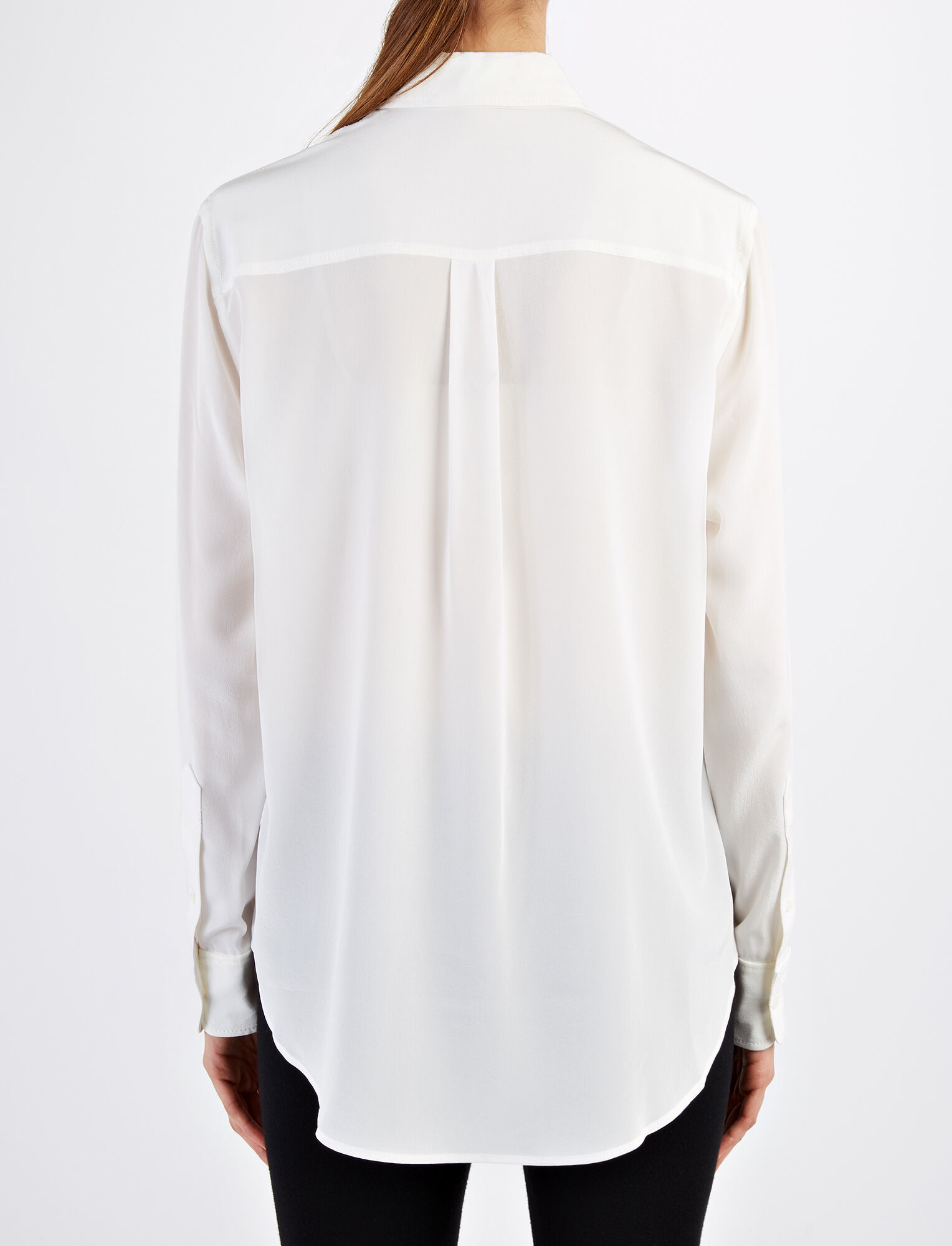 Crepe de Chine New Garçon Blouse, in CHALK, large | on Joseph