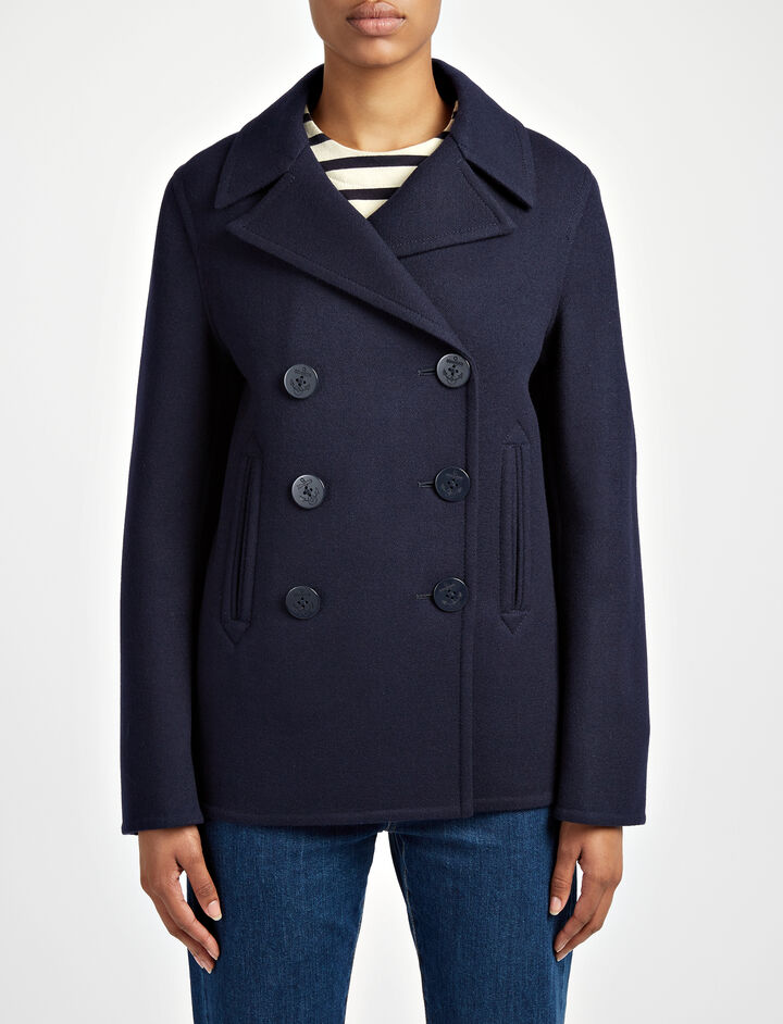 Joseph, Double Peacot Hector Coat, in NAVY