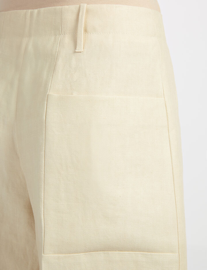 Linen Twill Tai Trouser, in SAND, large | on Joseph