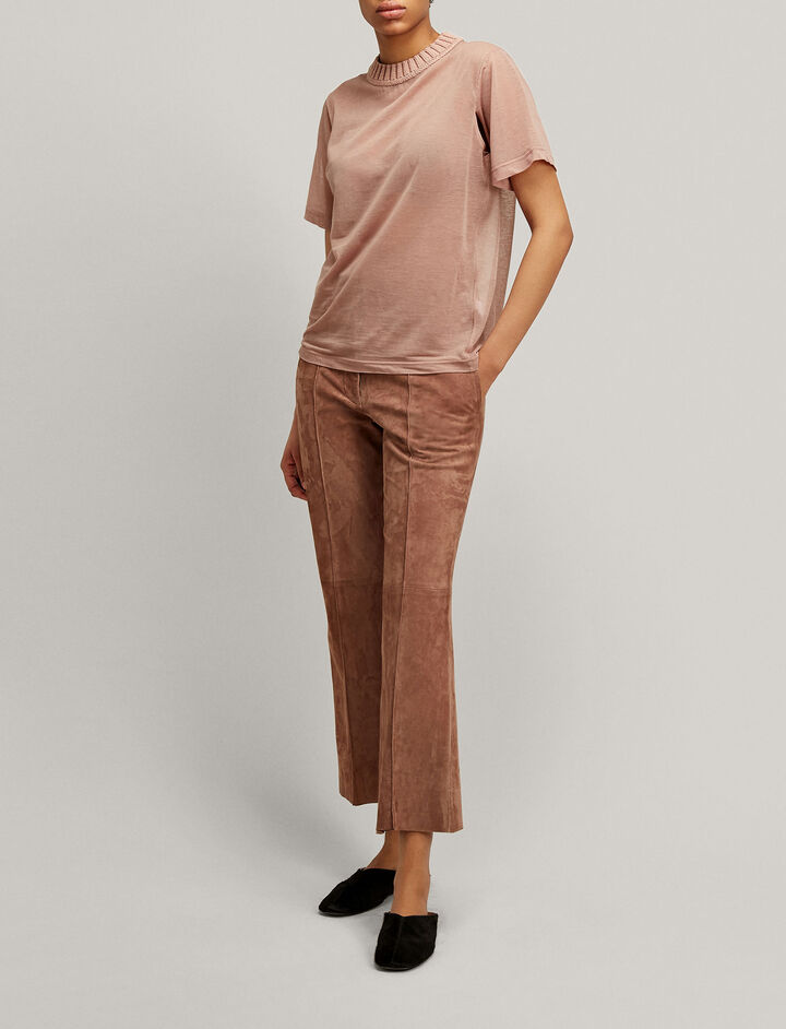 Joseph, Ridge Suede Trousers, in ROSE