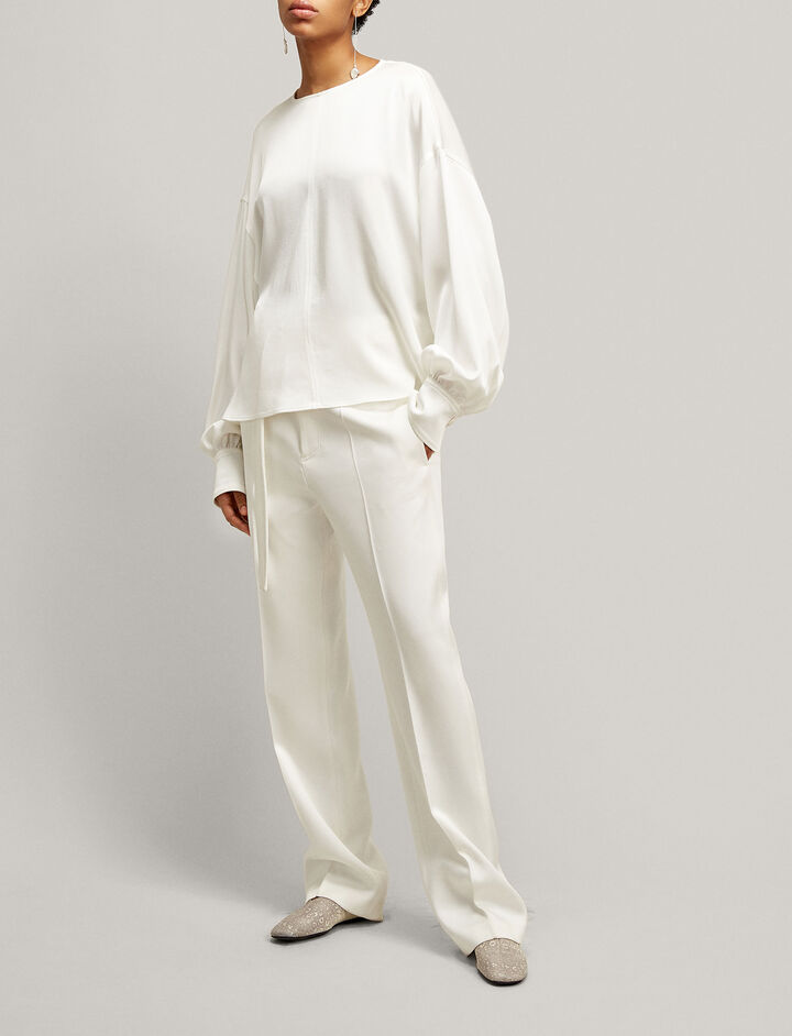 Joseph, Bird Double Satin Trousers, in WHITE