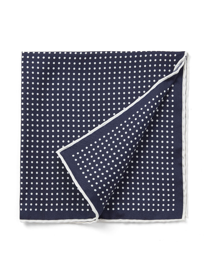 Joseph, Silk Dots Pocket Square, in NAVY