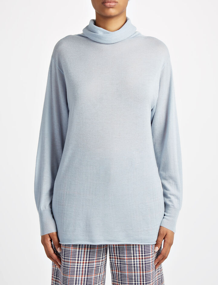 Cashair High Neck Oversized Sweater, in POWDER BLUE, large | on Joseph