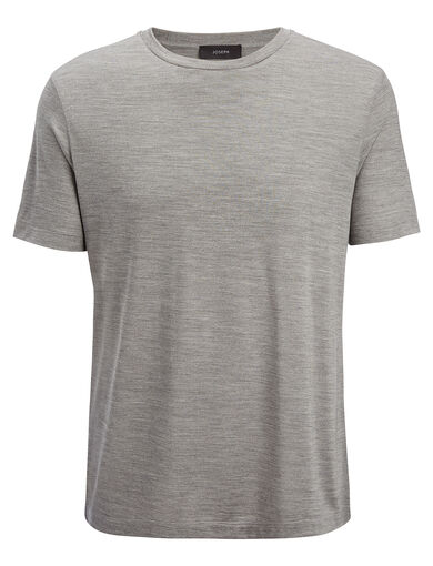 Silk Jersey Tee, in GREY CHINE, large | on Joseph