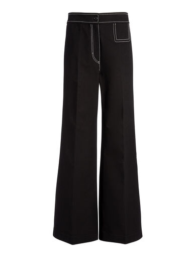 Pantalon Doni en gabardine stretch, in BLACK, large | on Joseph