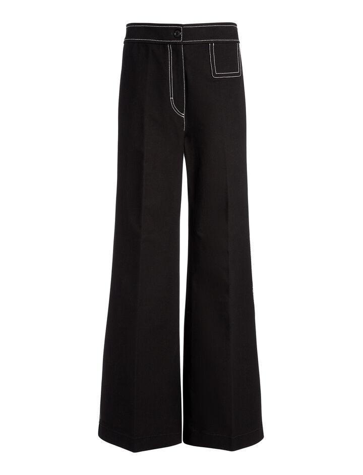 Pantalon Doni en gabardine stretch, in BLACK, large | on Joseph