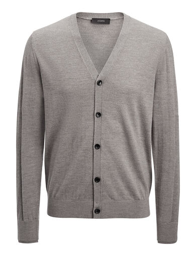 Merinos + Rib Patch Cardigan, in GRAPHITE, large | on Joseph