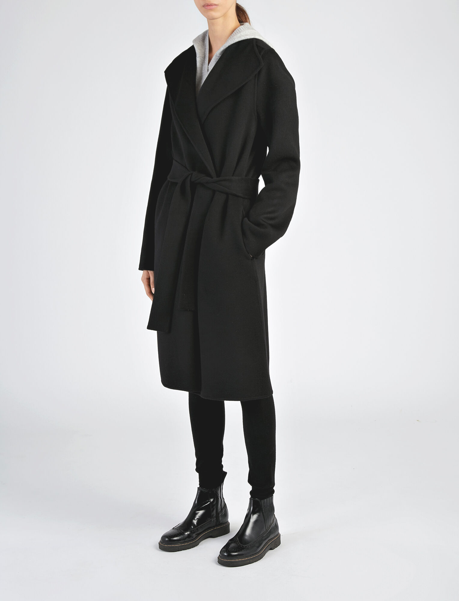 Joseph, Manteau Lima en double cachemire, in BLACK
