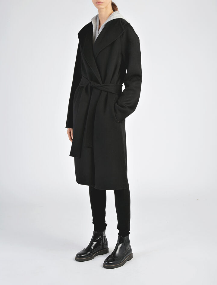 Manteau Lima en double cachemire, in BLACK, large | on Joseph