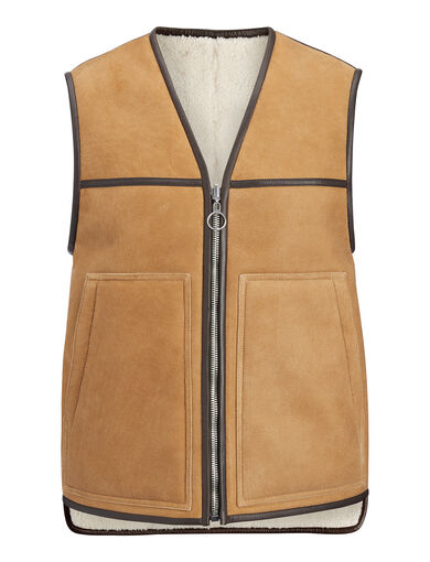 Suede Sheepskin Lincoln Reversible Gilet, in COGNAC, large | on Joseph