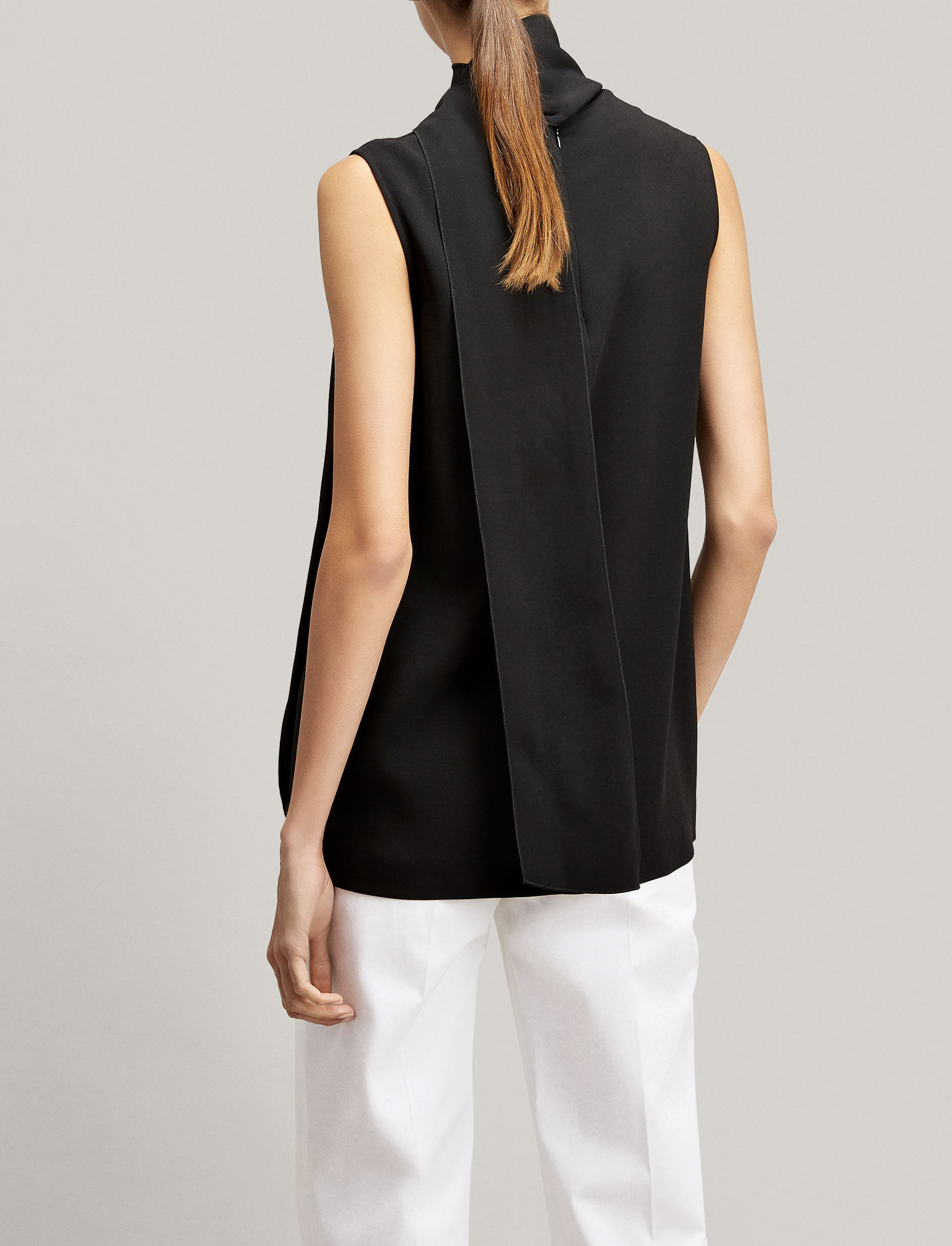 Viscose Cady Noon Blouse, in BLACK, large | on Joseph