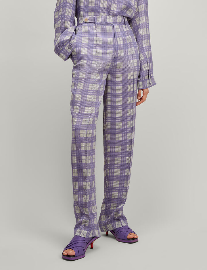 Canvas Check Royce Jacket, in PERIWINKLE, large | on Joseph