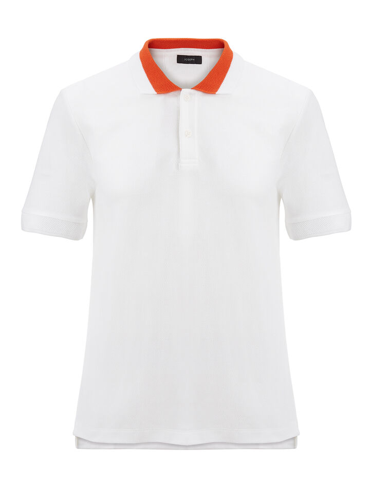 Joseph, Cotton Pique Polo, in WHITE