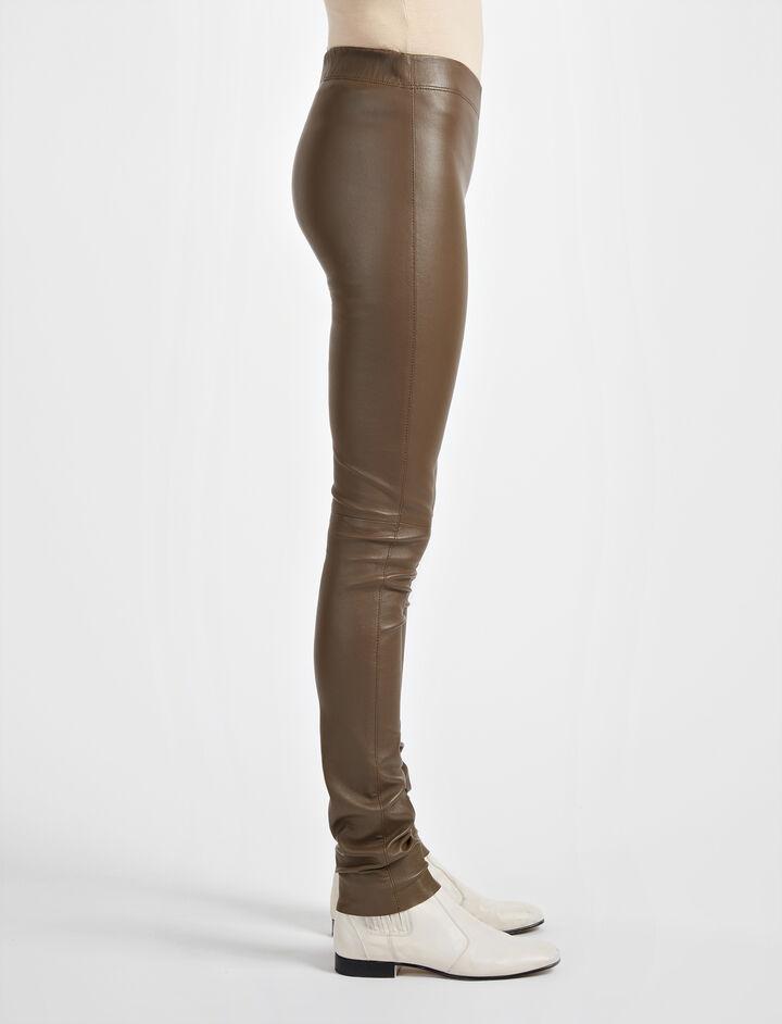 Leather Stretch Legging, in DARK ARMY, large | on Joseph