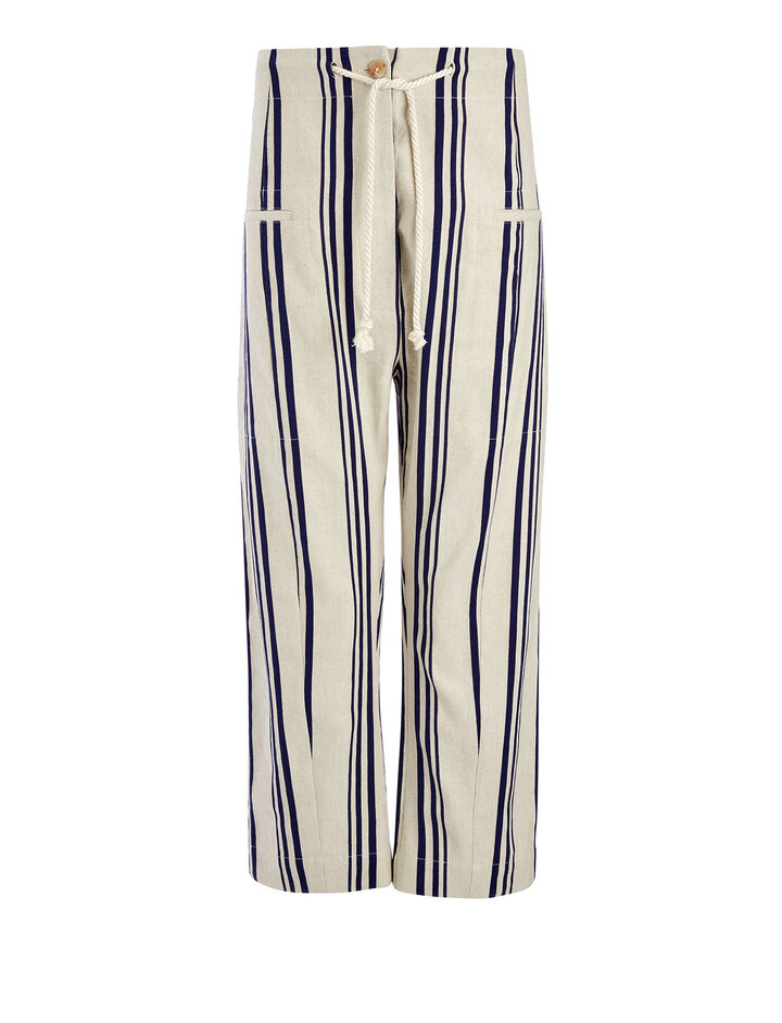 Linen Stripe Ombria Trouser, in NAVY, large | on Joseph