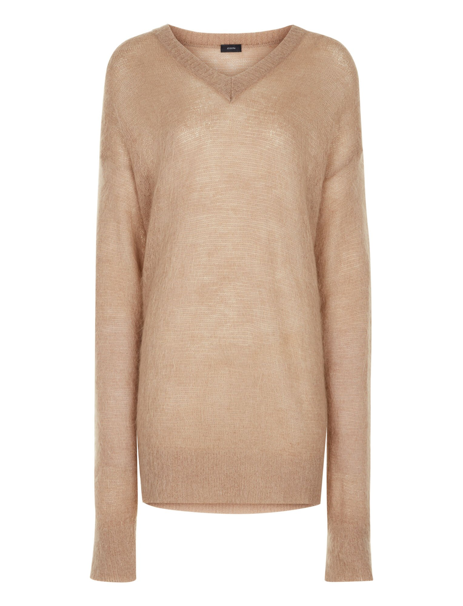 Joseph, V Neck Oversize Brushed Mohair Knit, in CAMEL