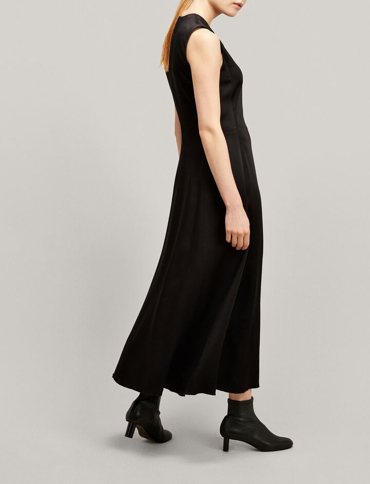 Joseph, Fulton Long Crepe Satin Dress, in BLACK