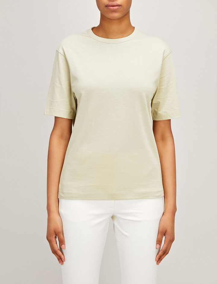 Joseph, Mercerized Jersey Boyfriend Tee, in PEA