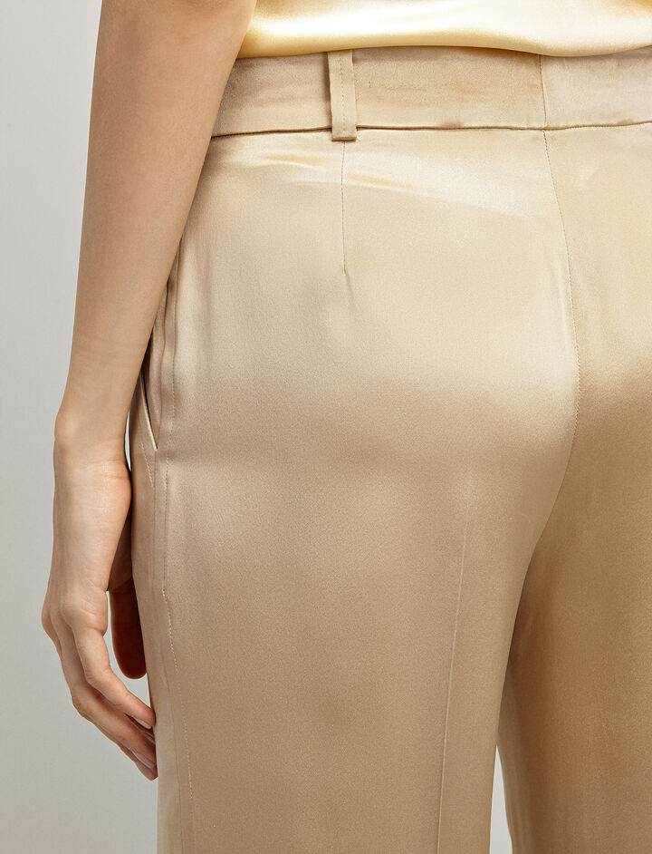 Silk-Satin Ferdy Trousers, in BEIGE, large   on Joseph