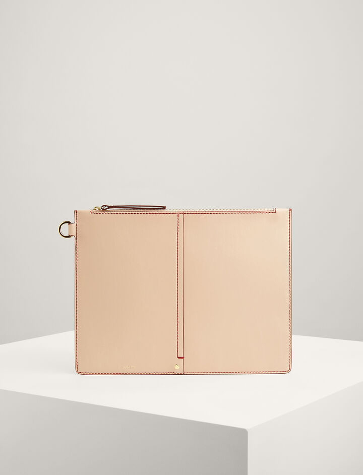 Calf-Leather Extra-Large Pouch, in PALE PINK, large | on Joseph