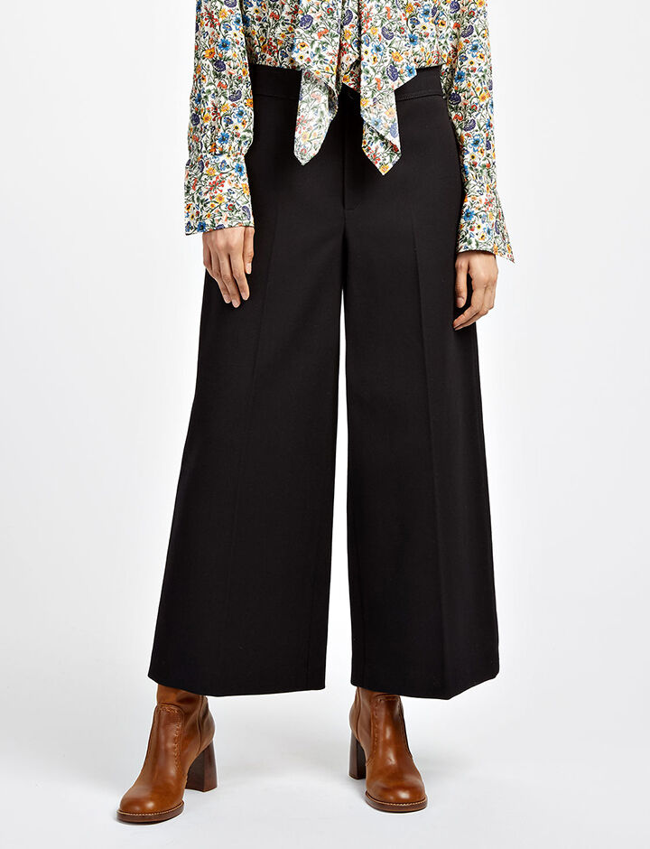 Cotton Wool Twill Fitz Trousers, in BLACK, large | on Joseph