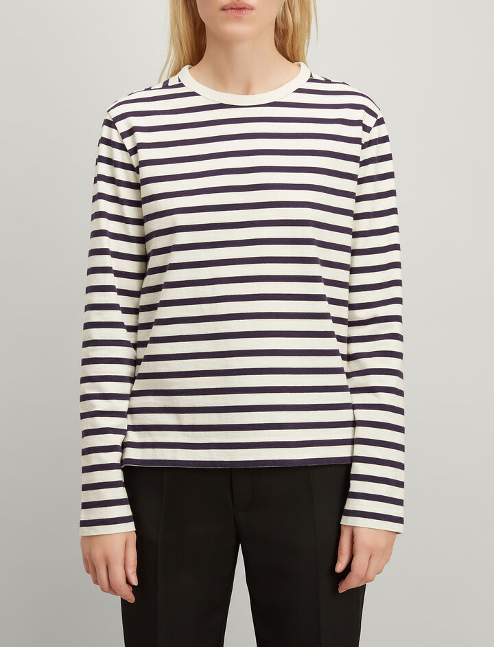 Joseph, Breton Stripe Long Sleeve Tee, in NAVY
