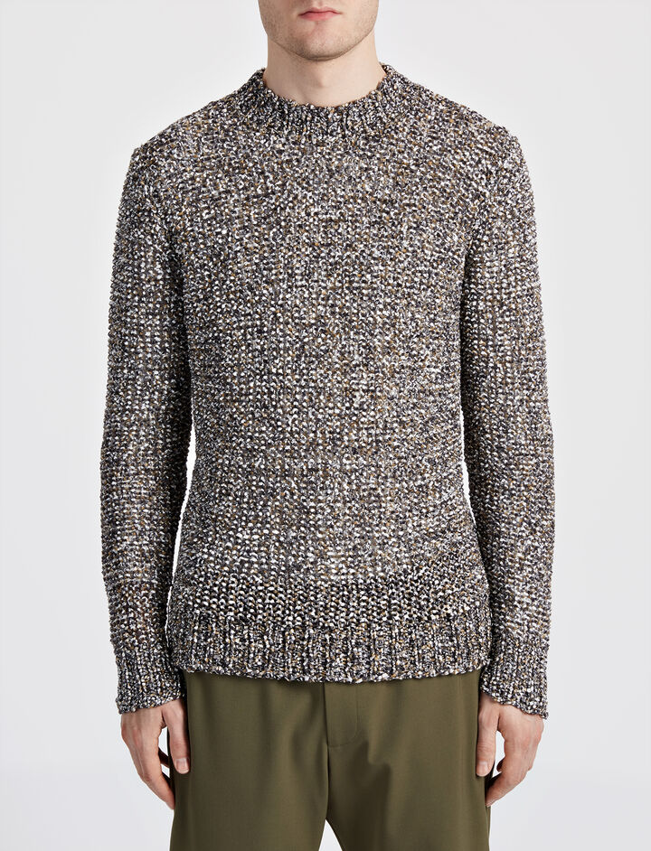 Paper Tweed Knit Sweater, in ARMY, large | on Joseph