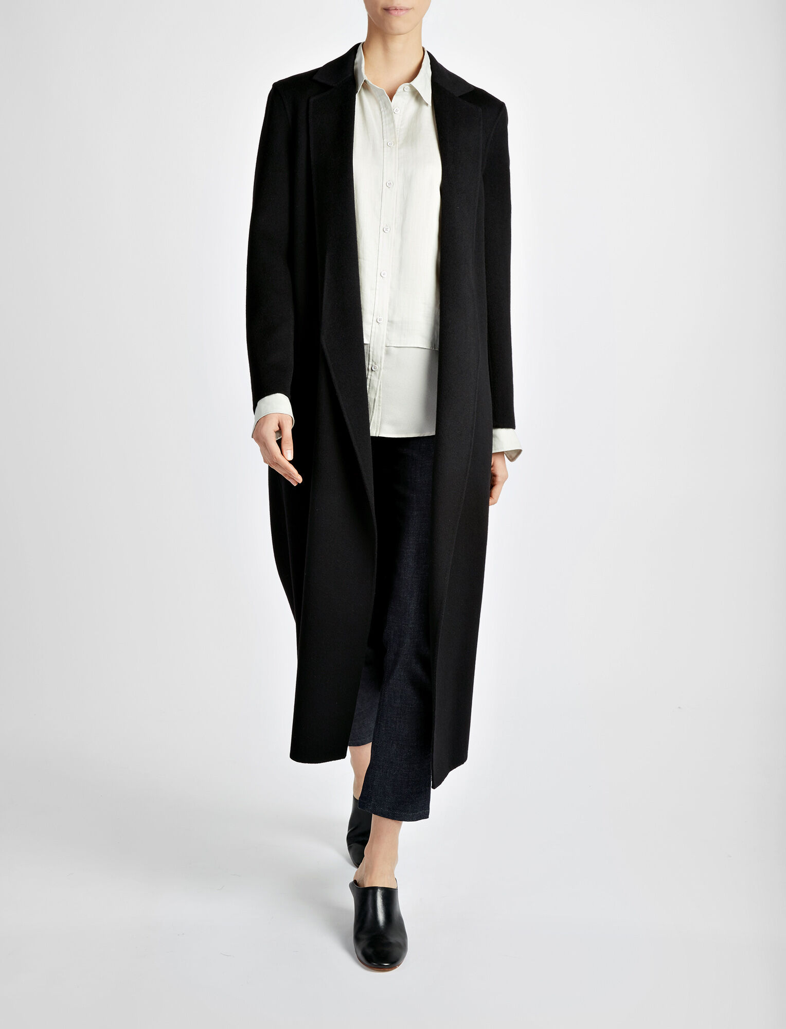 Light Double Cashmere Kido Coat, in BLACK, large | on Joseph
