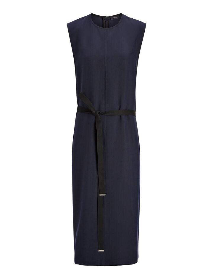 Textured Viscose Easton Dress, in INK, large | on Joseph