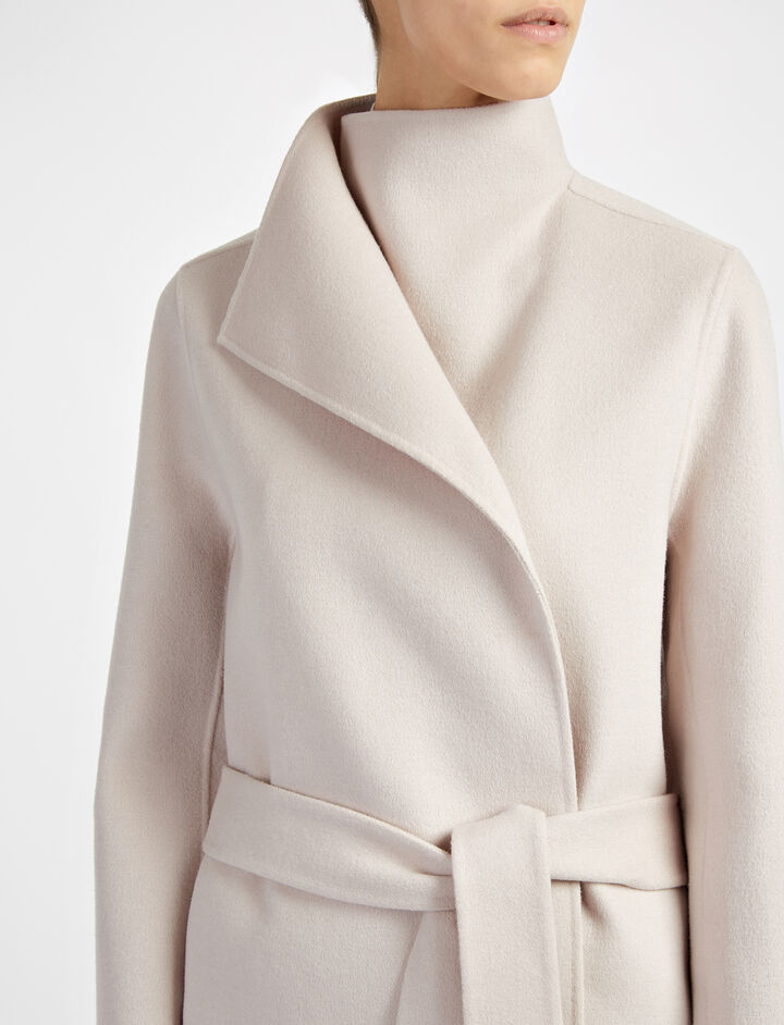 Double Face Cashmere Lima Short Coat, in POWDER, large | on Joseph