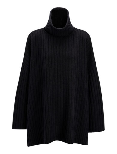 Poncho en laine douce, in BLACK, large | on Joseph